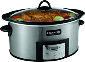 Crock-Pot SCCPVI600-S 6-Quart Countdown Programmable Oval Slow Cooker with Stove-Top Browning, Stainless Finish