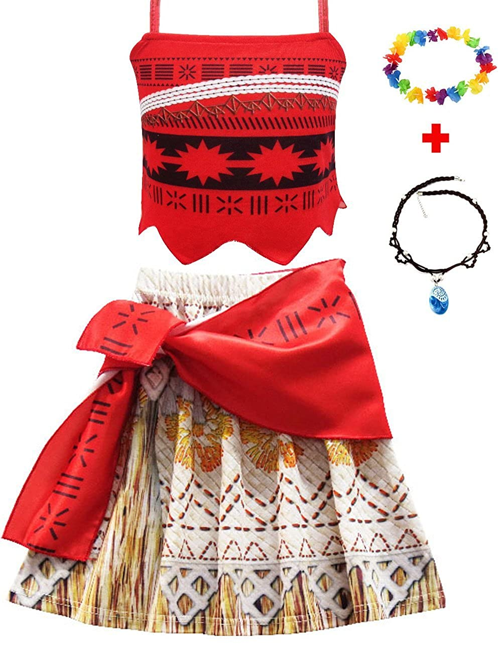 JYH Princess Moana Adventure Costume Two-Piece Skirt Set Party Dress for Girls with Necklace and Headband M05216101