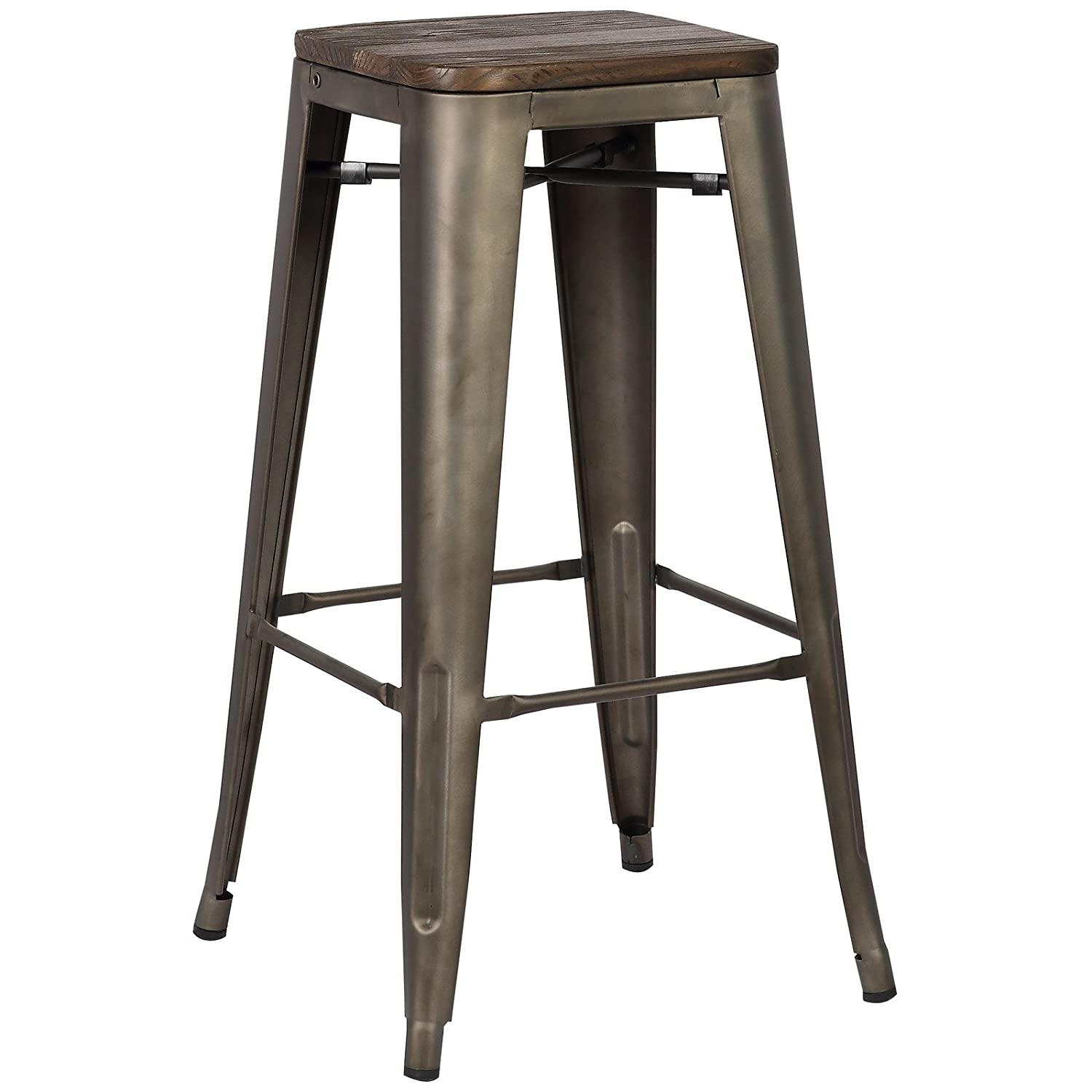 Poly and Bark Trattoria Bar Stool with Elm Wood Seat in Bronze