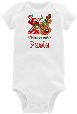 f7902a57a Embroidered Second Christmas Onesie Bodysuit for Baby Girl with Reindeer  Face and Custom Name (18