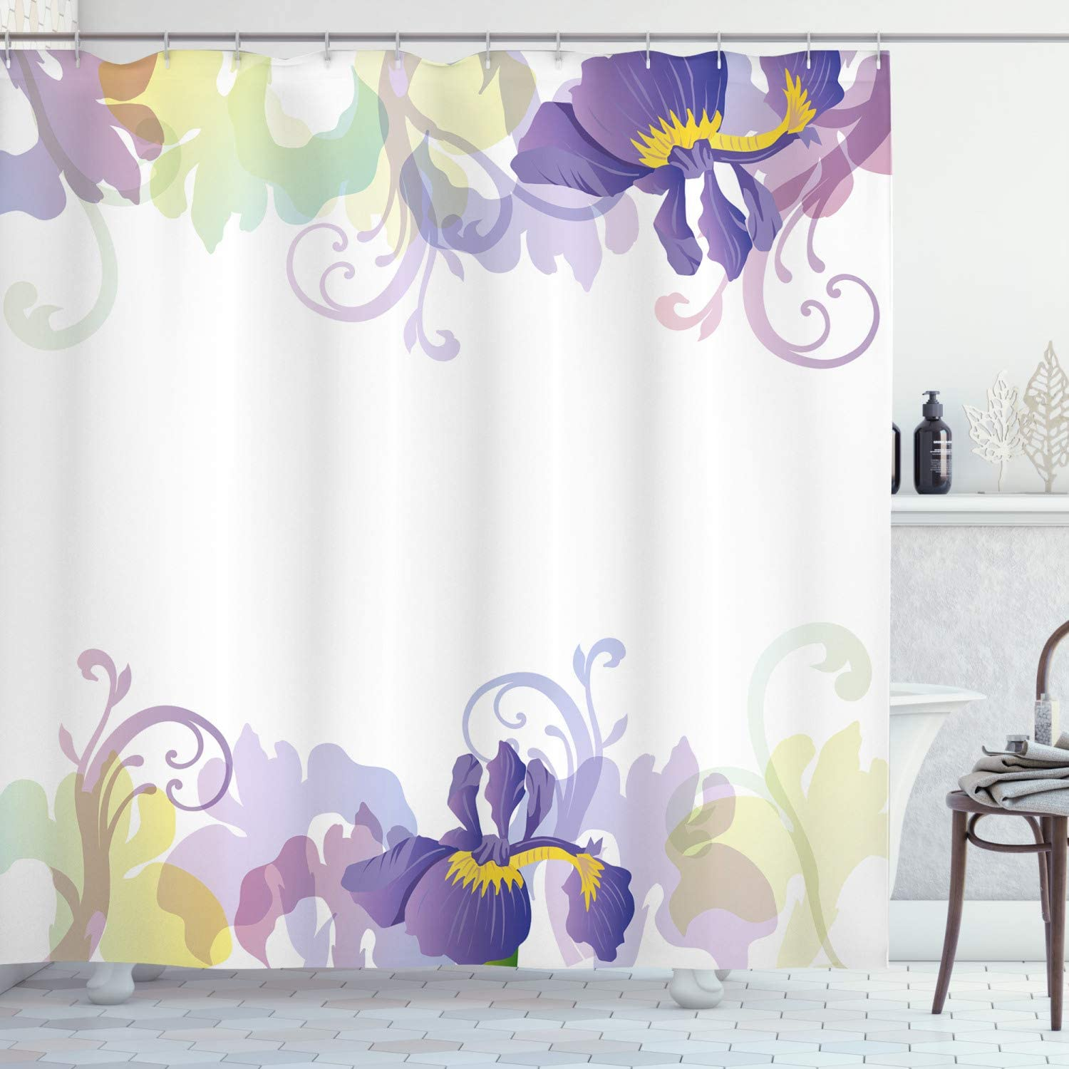 Ambesonne Floral Shower Curtain, Classic Petals Pastel Toned Seasonal Florets Blooming Flowers Spring Print, Cloth Fabric Bathroom Decor Set with Hooks, 70