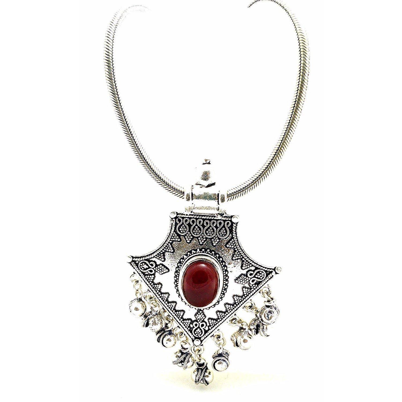 Efulgenz Indian Vintage Retro Ethnic Gypsy Oxidized Silver Tone Boho Necklace Jewelry for Girls and Women Gift for Her by Efulgenz