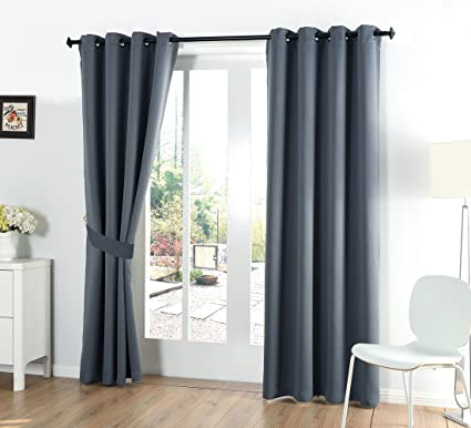Merveilleux 52x84 Inch Grommet Top Blackout Curtains For Bedroom With 2 Tie Backs, Dark  Grey10