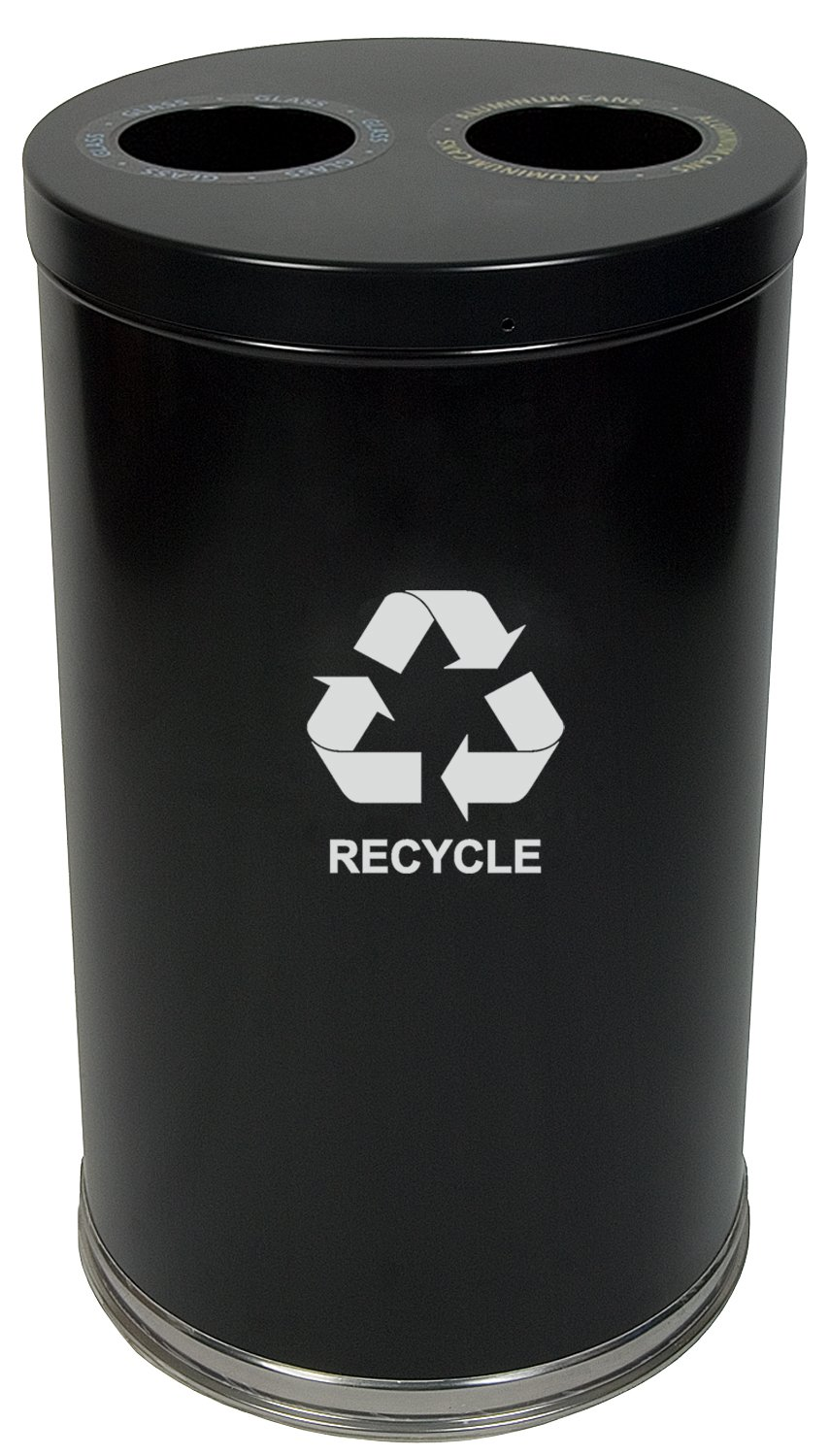 Witt Industries 18RTBK-2H Steel 36-Gallon 2 Opening Recycling Container with 2 Plastic Liners, Legend ''Recycle'', Round, 18'' Diameter x 33'' Height, Black