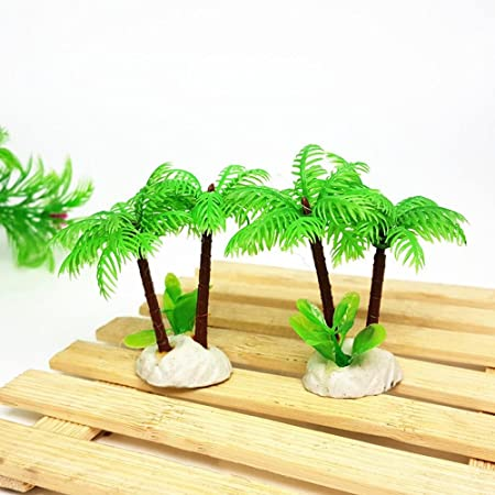 Aolvo 10 unidades de plantas de acuario de tortuga, plantas de acuario artificiales, forma de palma de coco, plástico de alta calidad, decoración de pecera, ...