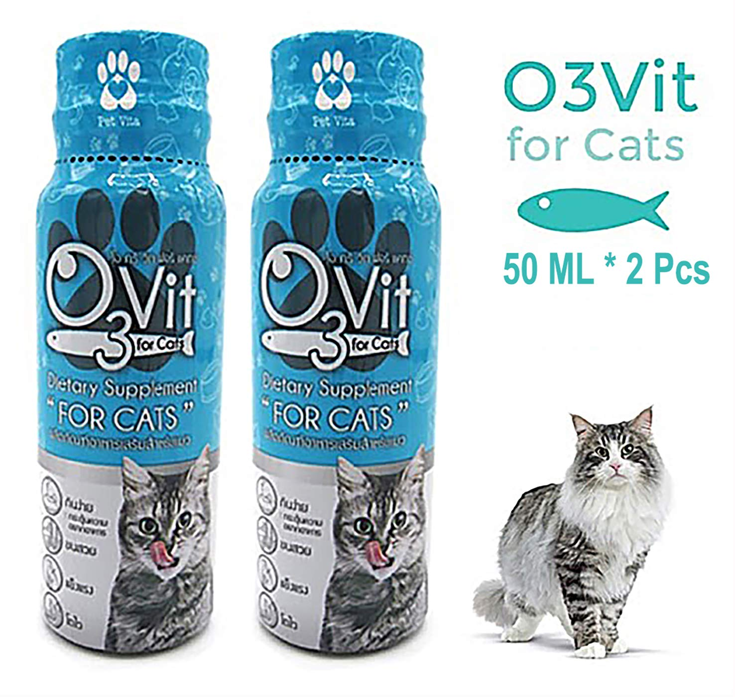 X2 Pcs(100ml) Multivitamin Daily Essential Cat Food Vitamins & Minerals Omega3, Helps Support Health, More Fat, Digestion, Skin, Coat, Allergy Immune Supplement Nourished Blood & Eye by OVIT