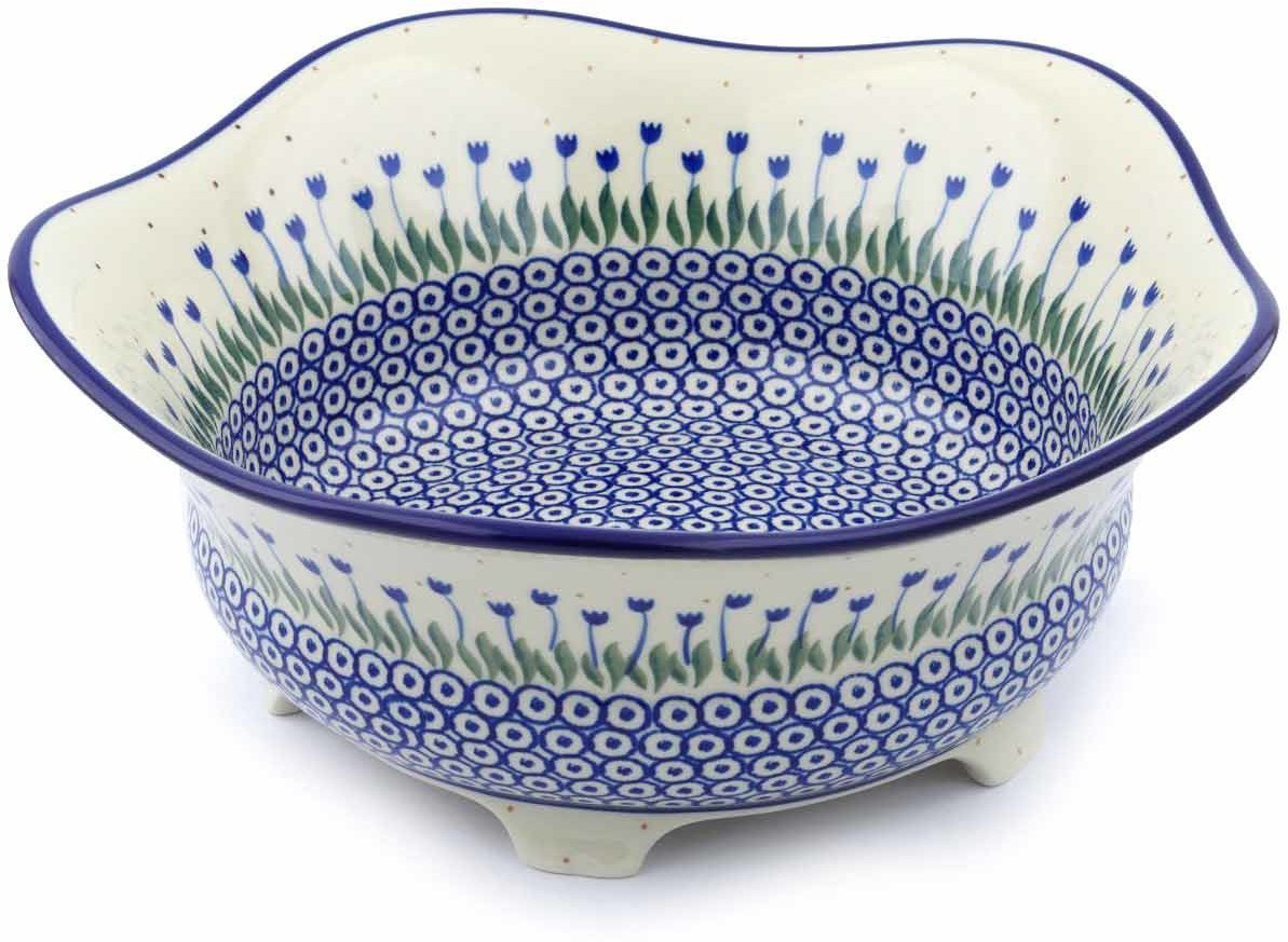 Polish Pottery 12-inch Bowl made by Ceramika Artystyczna (Water Tulip Theme) + Certificate of Authenticity