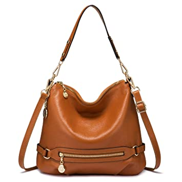 189b893bd7e63 Handtasche Damen Leder Handtasche Groß Schultertasche Henkeltaschen Frauen  Taschen (Braun)