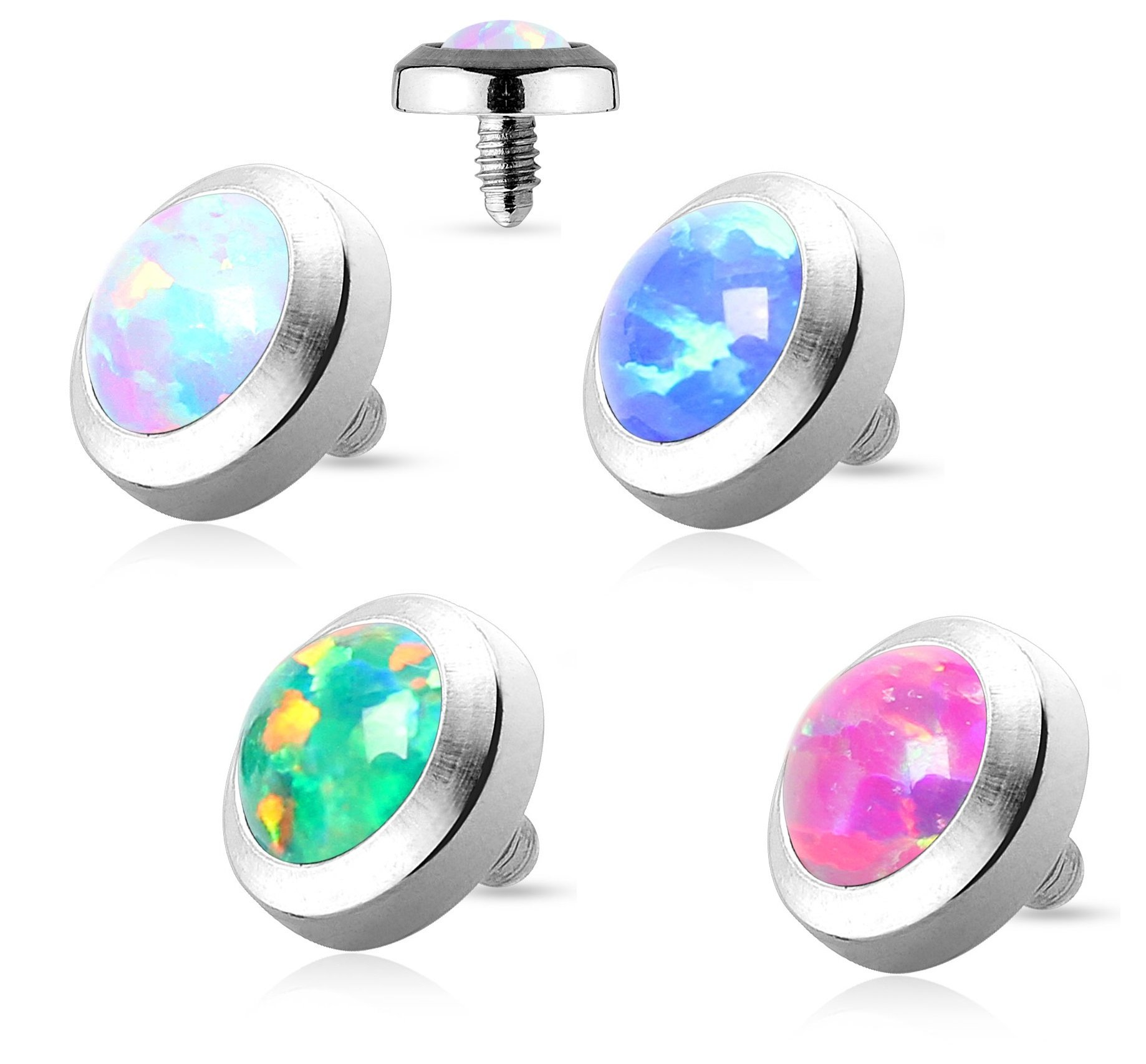 Pierced Owl Set of 4 316L Surgical Steel Flat Dermal Anchor Top with Opal 4mm Top - Blue, White, Green, and Pink