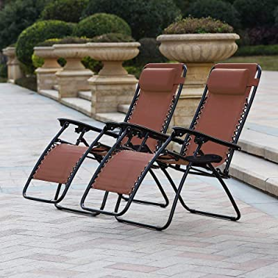 Polar Aurora Zero Gravity Chairs Recliner Lounge Patio Chairs Folding Cup Holder 2 Pack(Brown)