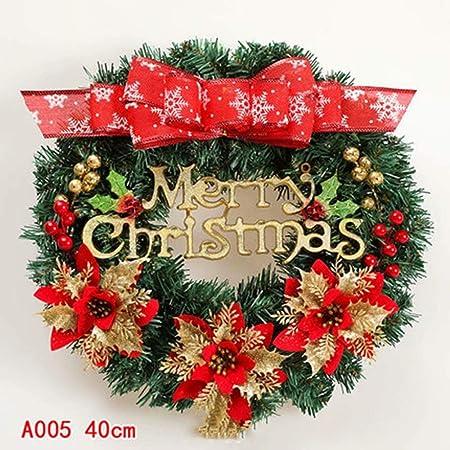 AA-SS-Christmas utenciles Adornos navideños Guirnalda Centro Comercial Ventana Colgante Decoración 40cm Árbol de Navidad Círculo Paquete de Colgante de ratán: Amazon.es: Hogar