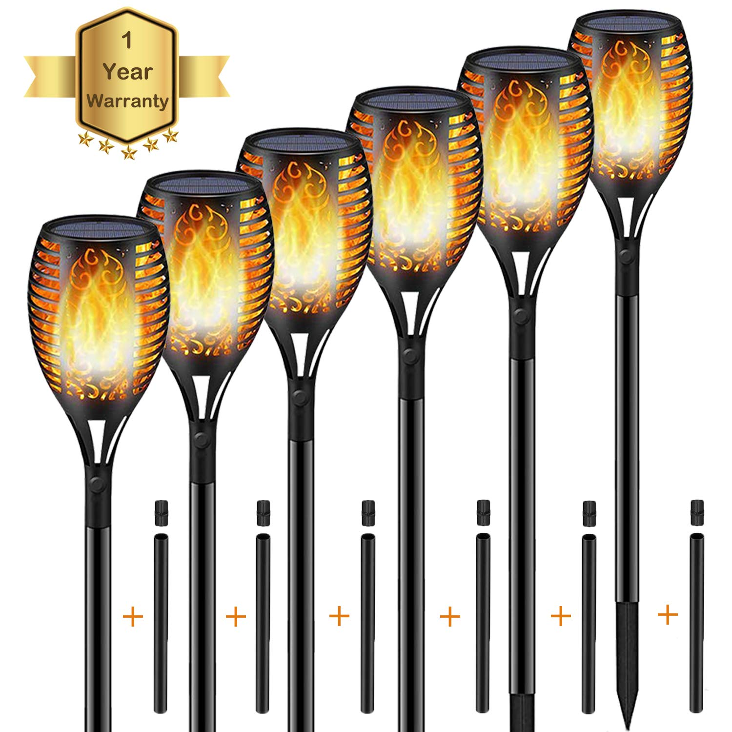 KISCHERS Solar Powered Led Torch Lights Warm Dancing Flickering Flame Dawn to Dusk Auto On/Off Outdoor Waterproof Garden Light Landscape Decoration Lighting for Patio Pool Pathway (6 Pack)