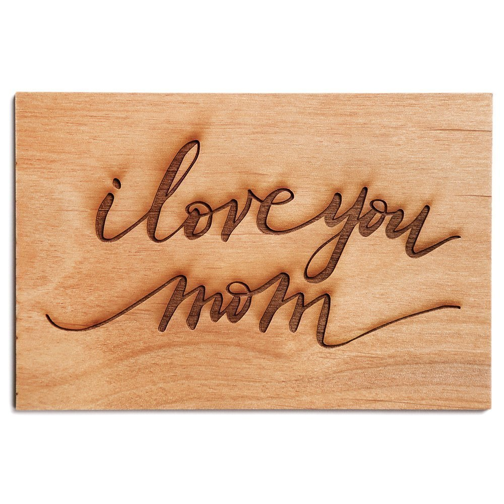 I Love You Mom Cursive Laser Cut Wood Mother's Day Card (Handlettered/Greeting Card/Birthday Card/For Mom)
