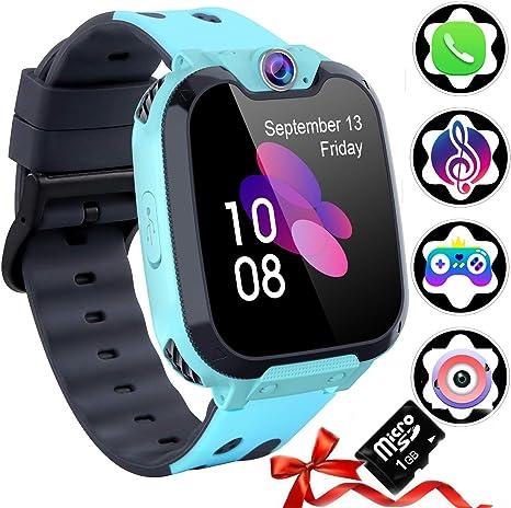 Reloj Inteligente para Niños [Tarjeta SD Incluida],Smart Watch con Reproductor de MúSica Con SOS Llamada Cámara 7 Juegos Y Reproductor de MúSica, Reloj de Pulsera Digital para Niños De 3-12 Años: Amazon.es: