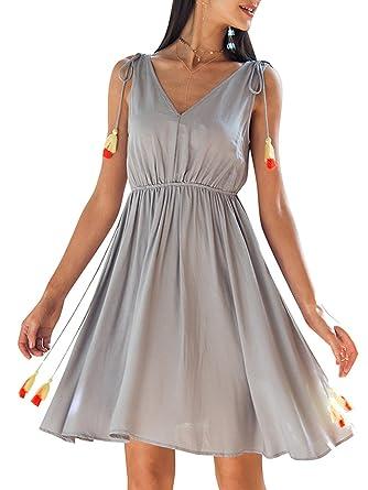 910907b05e92 Missy Chilli Damen Sommer Kurz Kleid Sexy Schickes V Ausschnitt A Linie  Einfarbig Minikleid Strandkleid  Amazon.de  Bekleidung