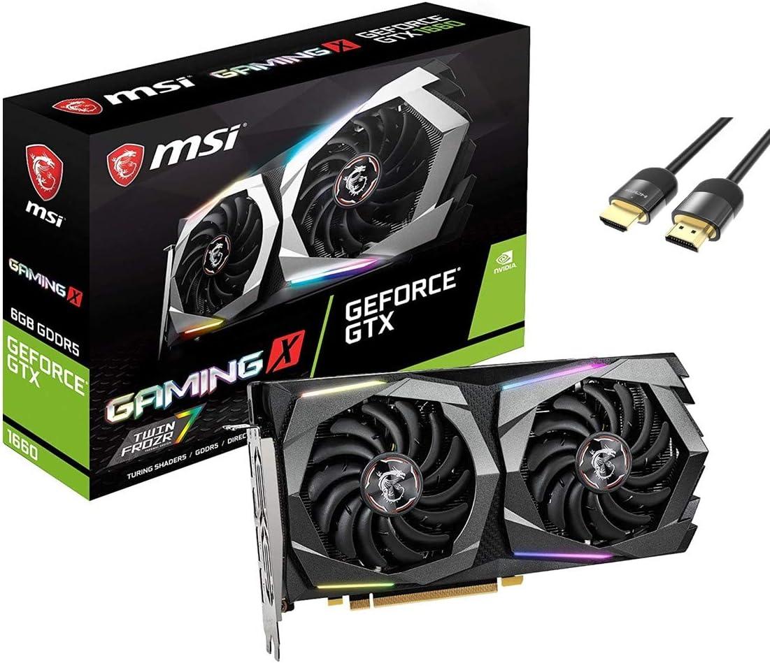 MSI GeForce GTX 1660 Gaming X OC Graphics Card, 6GB 192-Bit GDDR5 DirectX 12, PCIe 3.0, TORX Fan 3.0, Zero Frozr Technology, 1x HDMI 2.0b 3X DisplayPort 1.4 w/ Mytrix HDMI 2.1 Cable(4k@120Hz/8K@60Hz)
