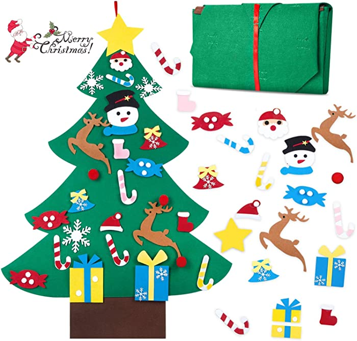 hblife Felt Christmas Tree, 3ft DIY Christmas Decorations Clearance with 26 Pcs Ornaments Wall Decor with Hanging Rope for Kids Xmas Gifts Home Door