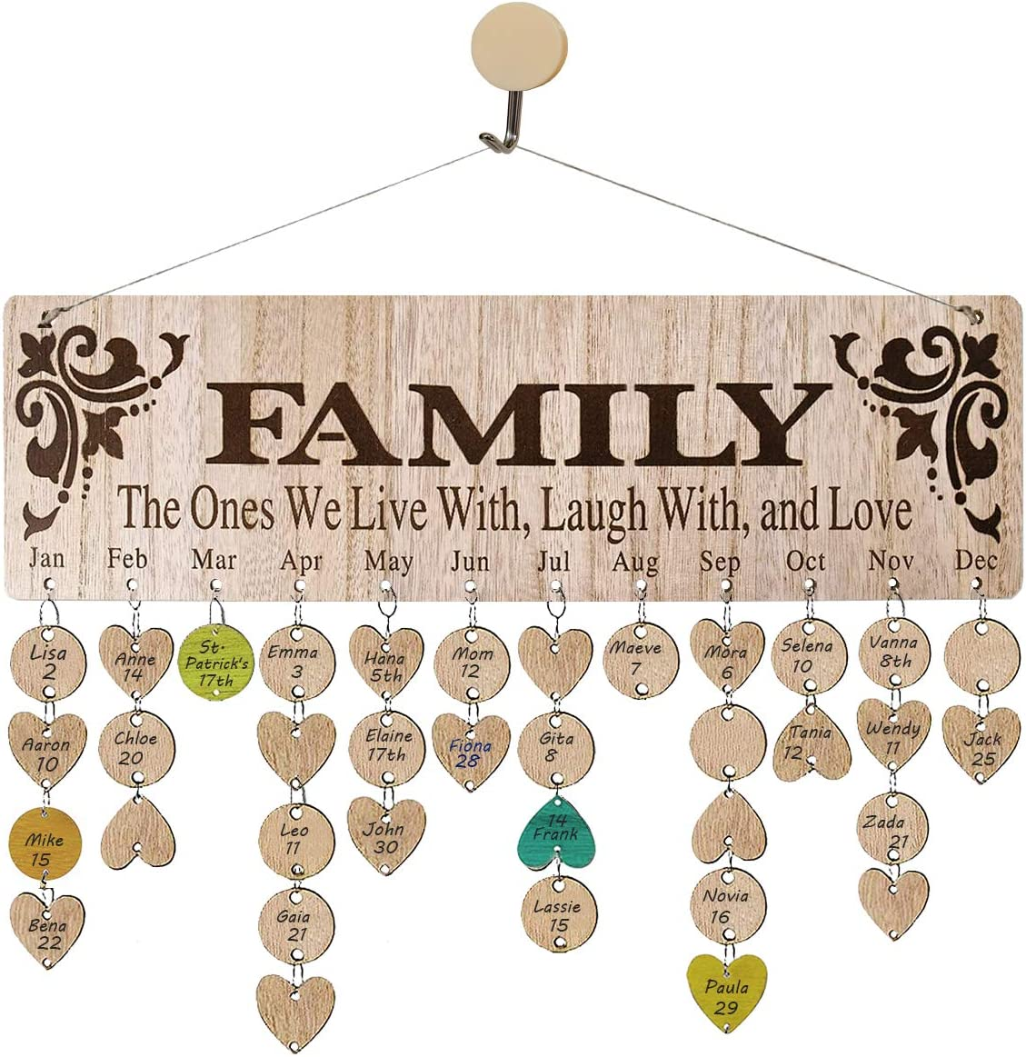 wellinc Personalized Gift for Grandma Unique, Family Birthday Reminder Calendar Board Wall Hanging, to Tracker Anniversary Events, Wood Birthday Plaque [Laser Engraved Family Pattern] for Home Decor