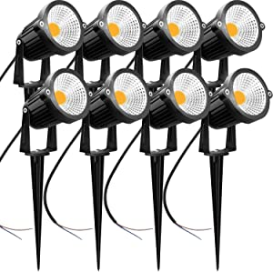 AHSELLUS LED Landscape Lights Low Voltage 5W 12V 24V Garden Lights IP66 Waterproof Walls Flags Trees Outdoor Landscape Spotlights Lighting (8 Pack)