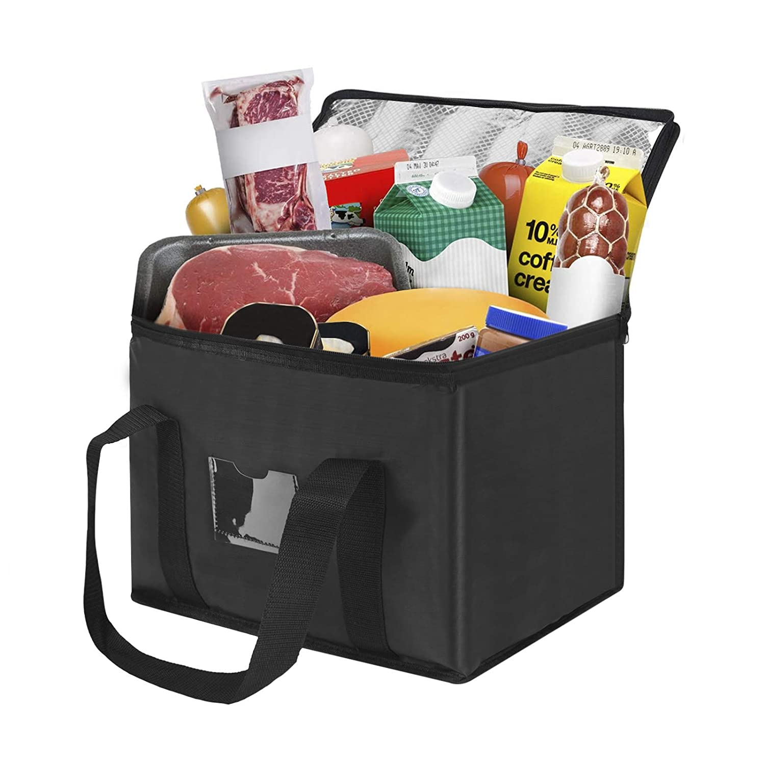 Insulated Food Delivery Bag Reusable Grocery Bag Meal Grocery Tote Waterproof Storage Collapsible Box Large Capacity Supply Bag Carrier for Hot and Cold Food, Catering, Buffet Server Transport