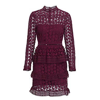 Unique-Shop Elegant Hollow Out Ruffle Lace Dress Women Vintage Long Sleeve Slim Short Dress