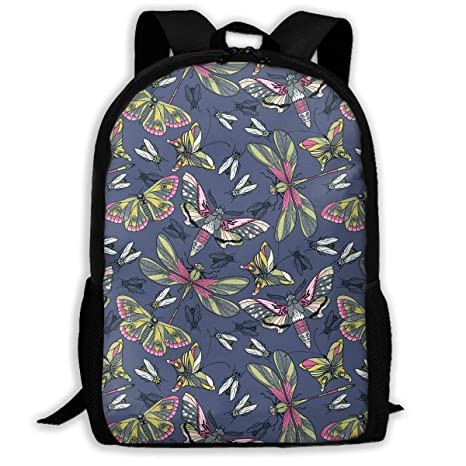 ecc682191c XIKEWL Flying Butterflies and Dragonfly Printing Unisex Casual Backpack  Lightweight Sport Backpack Adult College Book Bag