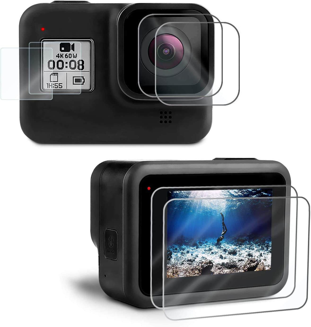 Kupton Displayschutzfolie Kompatibel Mit Gopro Hero 8 Kamera
