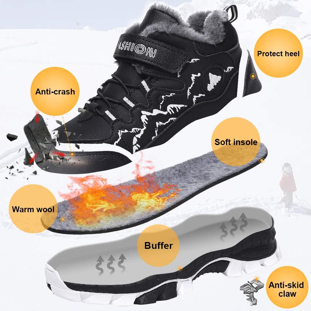 STQ Boys Winter Waterproof Hiking Boots Non Slip Trekking Outdoor School Running Sneakers