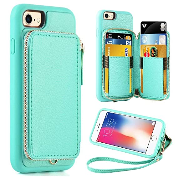 finest selection 4d2ad 255e6 ZVE Wallet Case for Apple iPhone 8 and iPhone 7, 4.7 inch, Zipper Wallet  Case with Credit Card Holder Slot Handbag Purse Wrist Strap Protective Case  ...