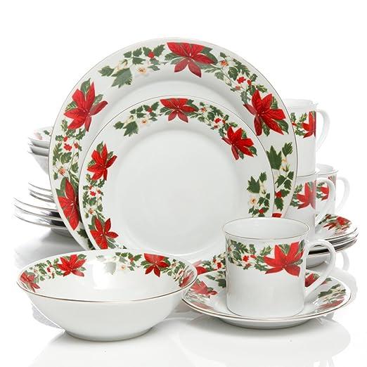 Amazon.com | Gibson Home Poinsettia Holiday 20 Piece Dinnerware ...