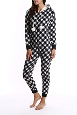 af3025ad2fd6 Nomad Women s Fleece Onesie - Hooded Zip Up One Piece Pajamas   Sleepwear -  Black and