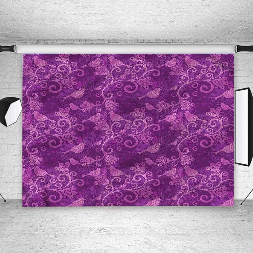 8x8FT Vinyl Photography Backdrop,Violet,Ancient Paisley Timeless Photo Background for Photo Booth Studio Props