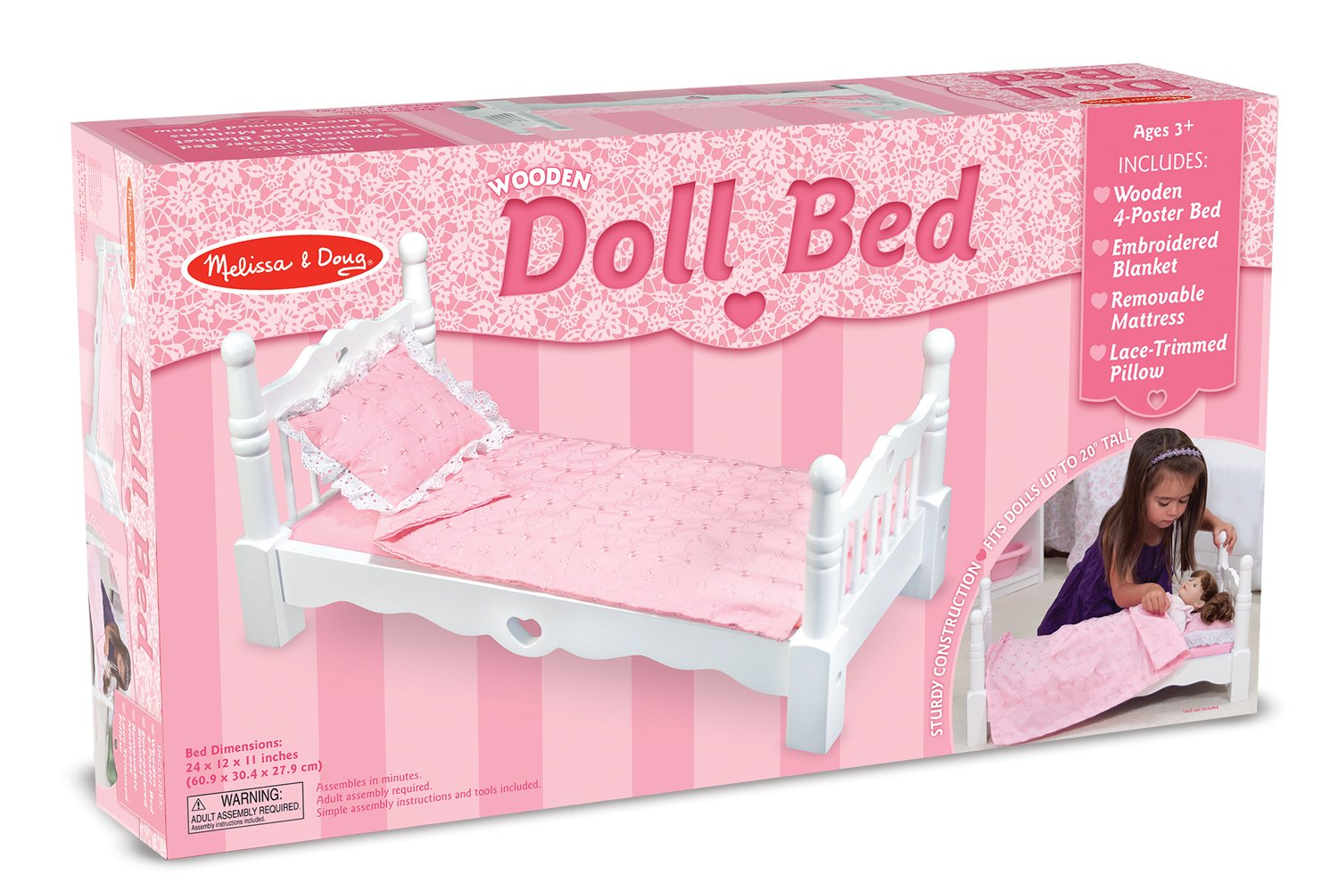 Amazoncom Melissa Doug White Wooden Doll Bed With Bedding 24 X