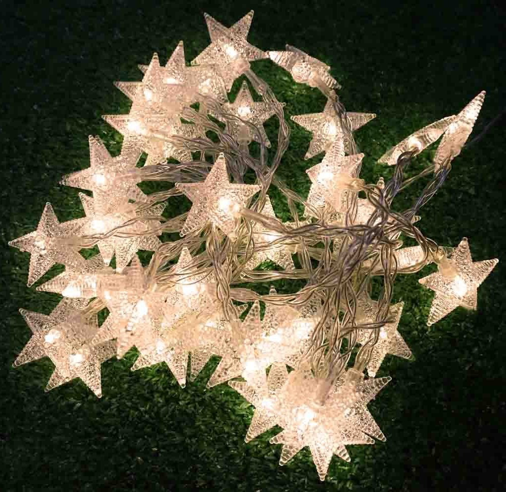 echosari 4M 40 LED Battery Powered Fairy string light,Five-pointed Star String Lights for Chrismas, Party, Wedding, New Year, Garden Décor (Warm White) by echosari