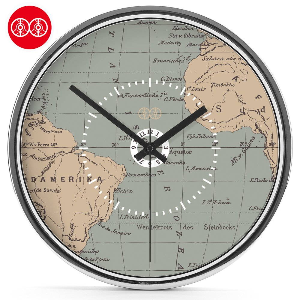 Amazon.com: Y-Hui Mr Lee Art Wall Clock World Map Drawing Mute Wall Table Clock Table, 14 Inch, Plated Mirror Box: Home & Kitchen