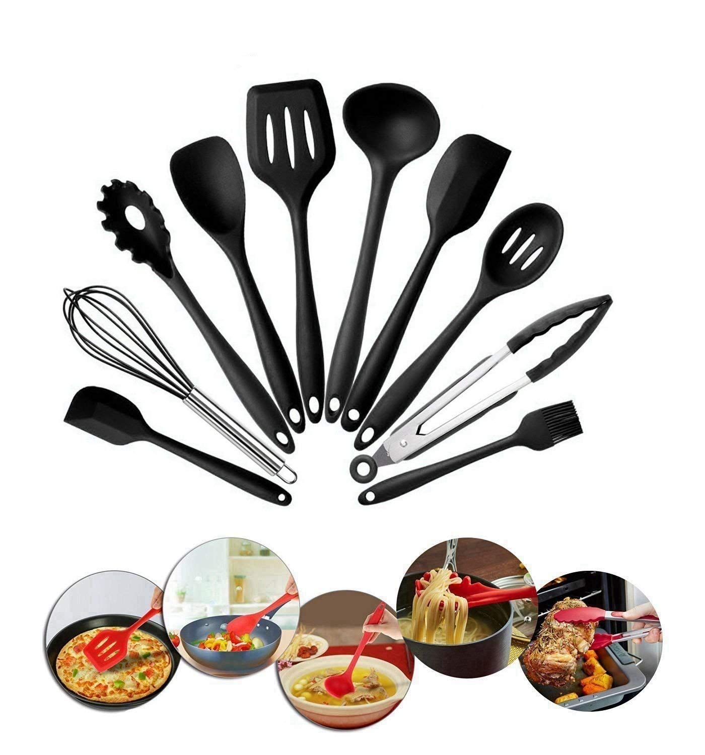 10 Piece Silicone Kitchen Utensils Set,Home Baking Cooking Tools Cookware Gadgets Contains Pasta Fork,Spoonula,Tong,Slotted Spoon,Ladle,Turner,Large Spatula,Small Spatula,Basting Brush,Whisk (Black) by Deway