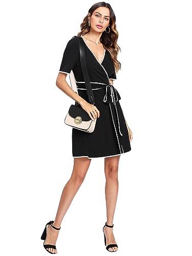 6aa9430da3 Amazon.com  Romwe Women s Cute Fashion Summer Contrast Binding Wrap Slim  Fit Short Dress Black M  Clothing
