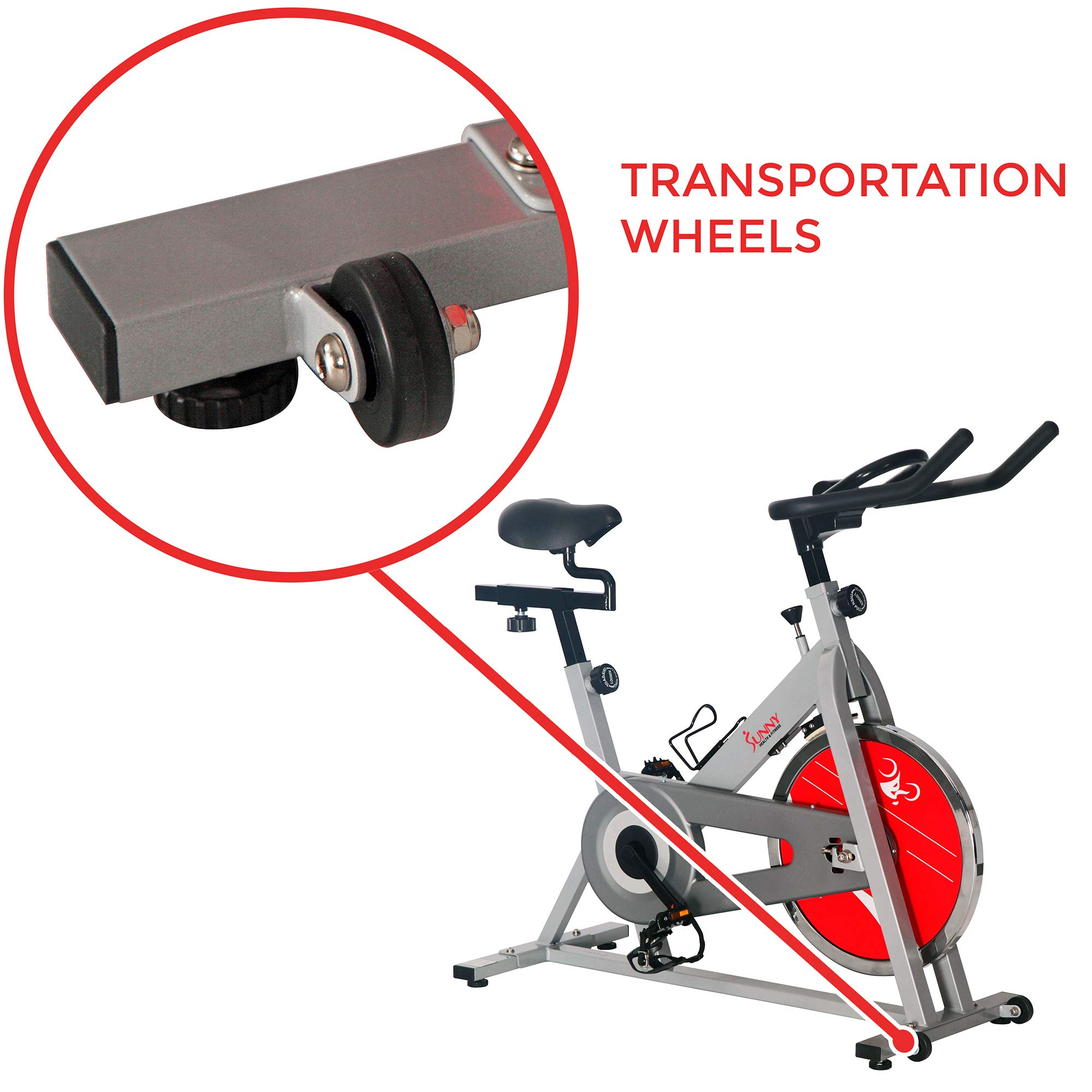 Sunny Health & Fitness SF-B1001S Indoor Cycling Bike, Silver by Sunny Health & Fitness (Image #8)