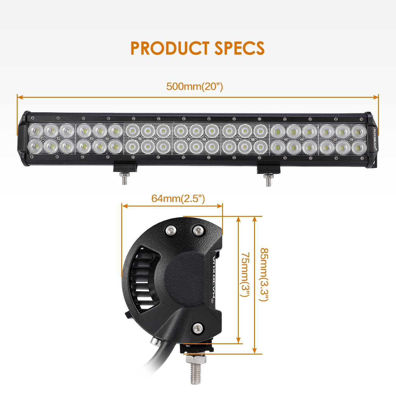 Auxbeam 20inch Led Light Bar 126w Cree With Wiring Driving Lights Motorcycle Including Indian 42pcs 3w Off Road Spot Flood Combo Beam For Jeep Atv Suv