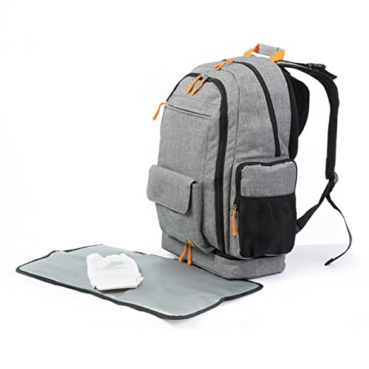Amazon.com : DGM Gender Neutral Diaper Bag Backpack with Changing Pad | Large Capacity Organizer with 16 Pockets, 4 Insulated Pouches, Separate Bottom Compartment | Lumbar Support, Stroller Straps for Travel : Baby