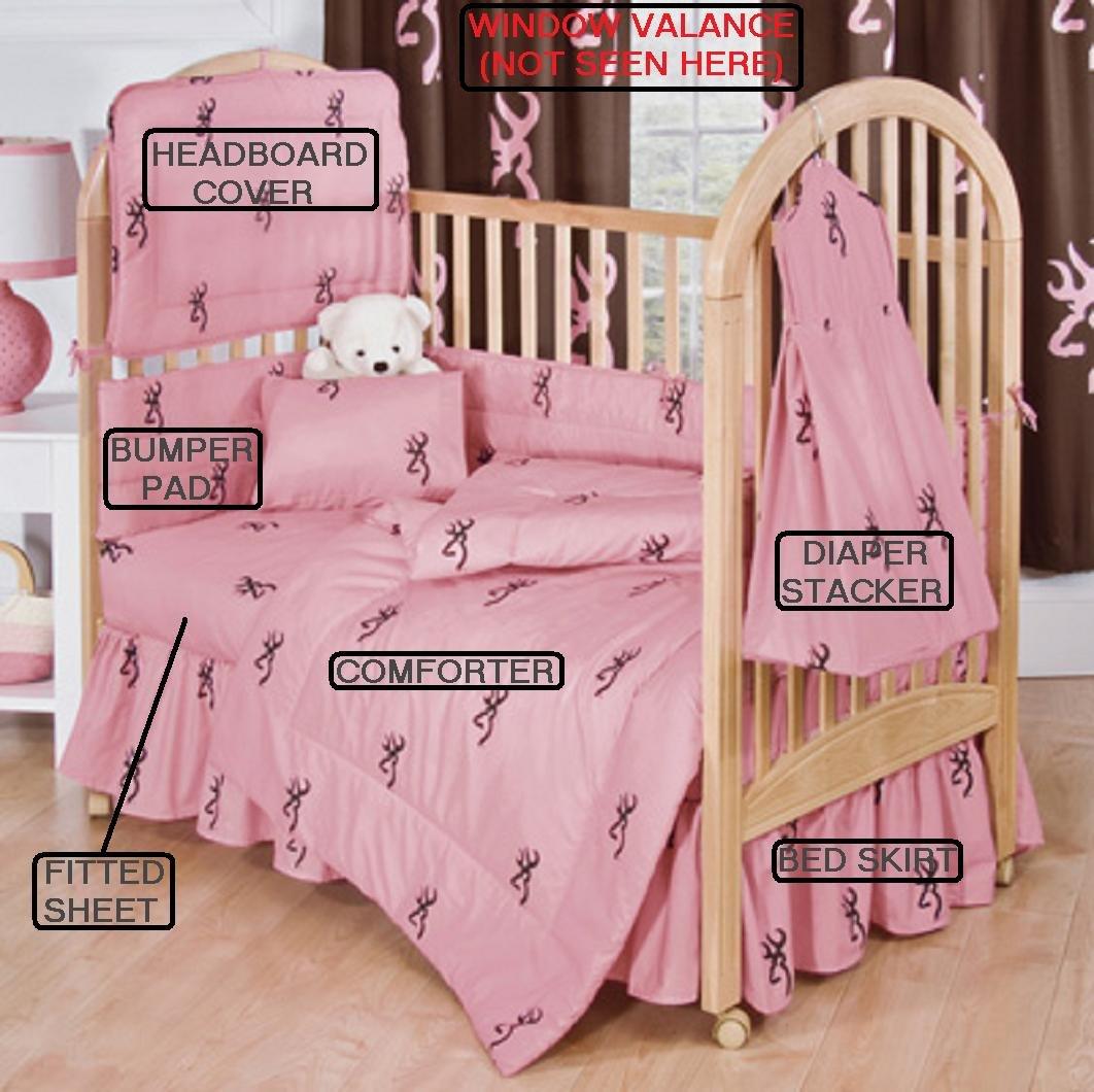 Browning Baby Pink W/ Buckmark 7 Pc Baby Crib Set - Gift Set, Save By Bundling!