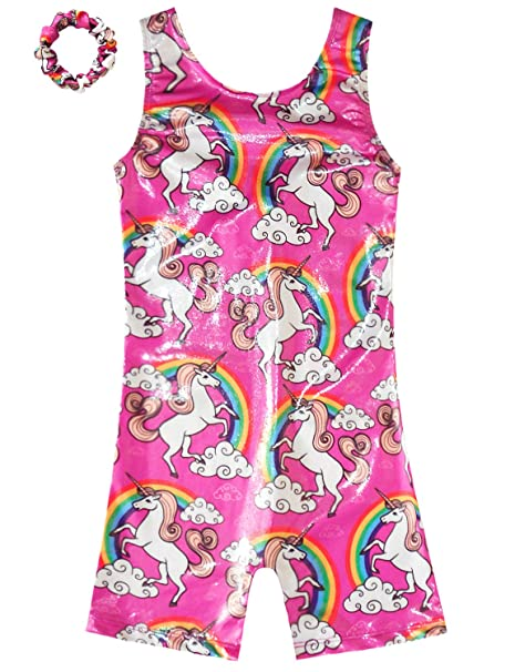 327d151b7d90 Amazon.com  Gymnastics Leotards for Girls Sparkly Unicorn Biketard ...