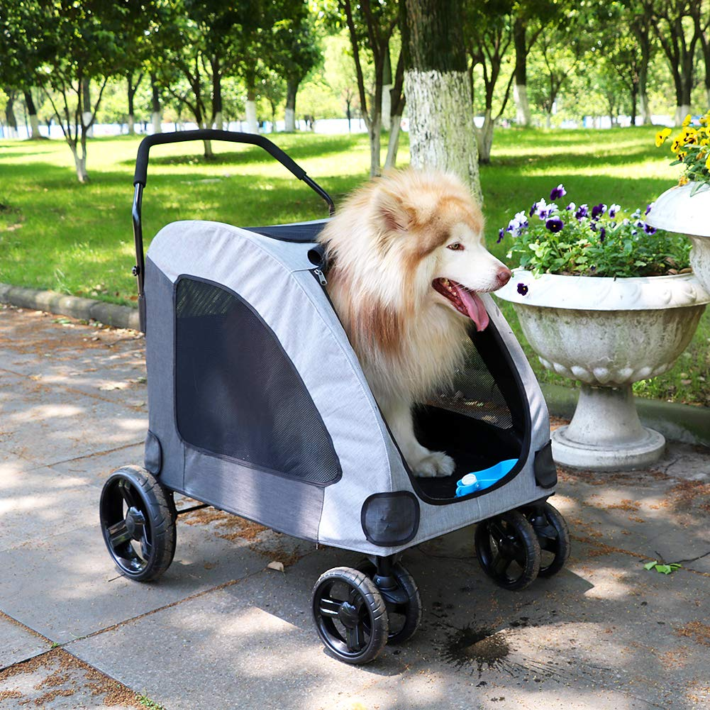 Petbobi Dog Stroller for Large Pet Jogger Stroller for 2 Dogs Breathable Animal Stroller with 4 Wheel and Storage Space Pet Can Easily Walk In/Out Travel up to 120 lbs