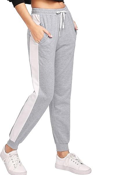 8cf5fa9fa977f9 SweatyRocks Women's Drawstring Waist Color Block Side Jogger Sweatpants  With Pockets (X-Small,
