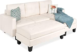 Best Choice Products 3-Seat L-Shape Tufted Faux Leather Sectional Sofa