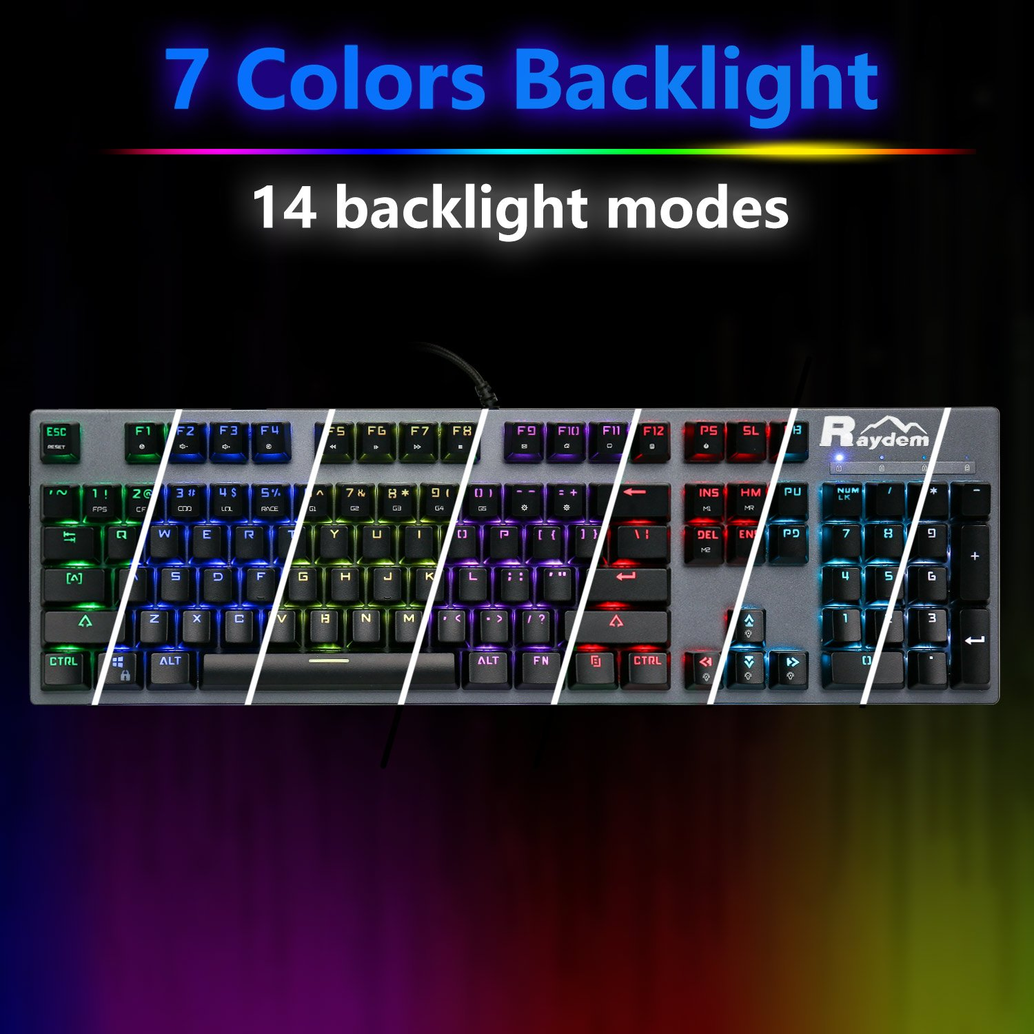 Raydem RGB Mechanical Keyboard with Blue Switches, 16.8 Million RGB Backlit Mechanical Gaming Keyboard with 14 LED Backlit Modes 104-key Anti-Ghost Aluminum Plate, Non-Fading UV Coating for PC & Mac by Raydem (Image #6)