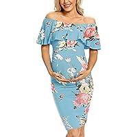 AONESX Maternity Dress Off Shoulder Ruffle Sleeveless Bodycon Dress for Baby Shower