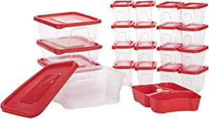 Mind Reader Meal Prep Food Storage Plastic Containers with Lids, Removable Compartment Sectionals, 42 pcs, 51 Cups, Red