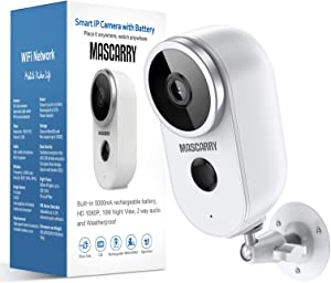 Wireless Outdoor Security Camera 1080P Rechargeable Battery Powered WiFi Camera with Night Vision, Motion Detection, 2-Way Audio, Weatherproof Wireless Home Security Camera System for Outdoor & Indoor