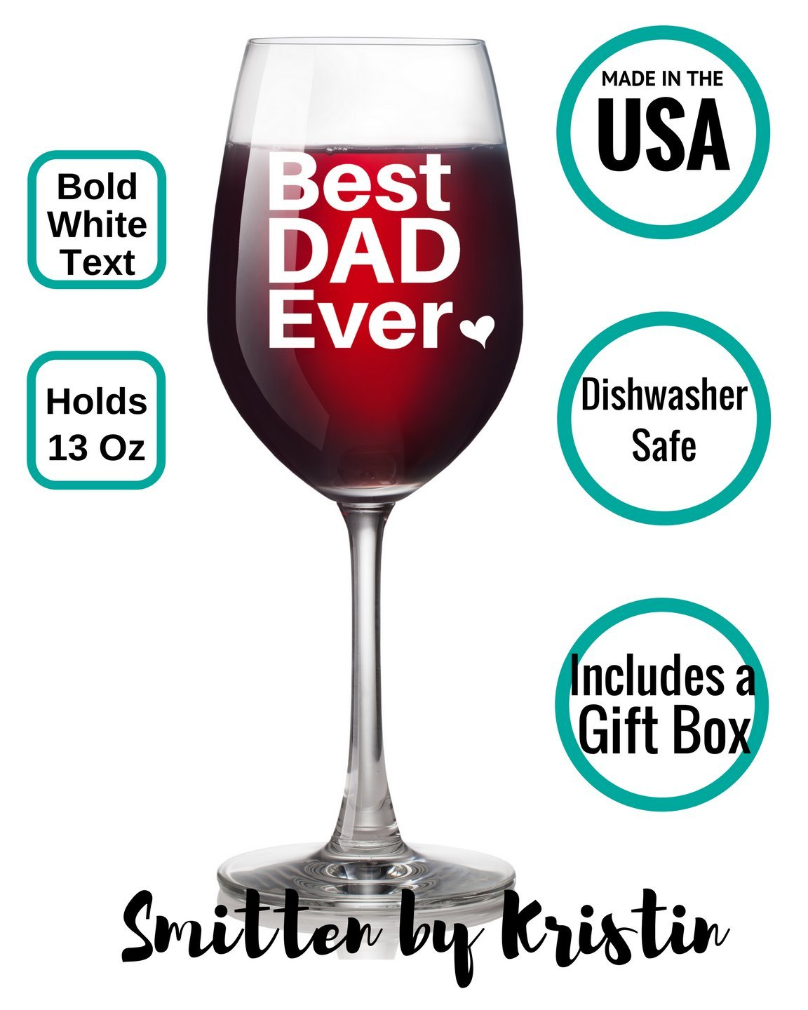 Best Dishwasher For Wine Glasses Amazoncom Best Dad Ever Wine Glass Fathers Day Gift For Dad
